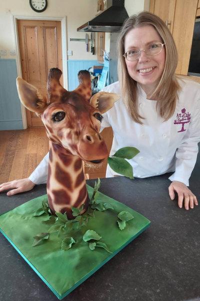 Sylvia with Giraffe Cake
